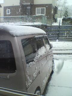 こんな時季に雪が積もってます。